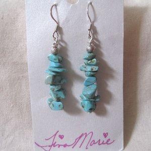 TM Art., Silver Pl Turquoise Nugget Earrings